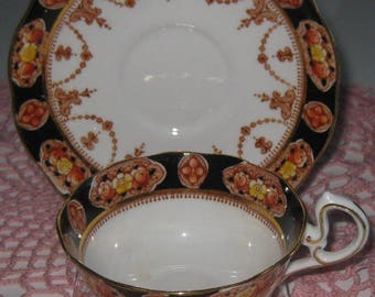 ROYAL ALBERT CROWN China Cup and Saucer, Similar to Heirloom Pattern. Made in England