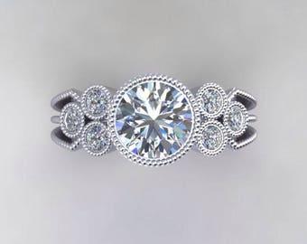 Moissanite Engagement Ring 1.0ct Round Forever One Center .18ct Genuine Diamonds Art Deco Anniversary Bezel Set Ring Pristine Custom Rings