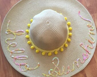 Customized- Sequin Hello Sunshine Floppy Straw hat