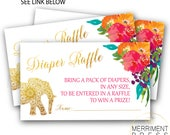 Elephant and Indian Themed Diaper Raffle Ticket // Gold // Watercolor // Mandala // Colorful // Instant Download // JAIPUR COLLECTION