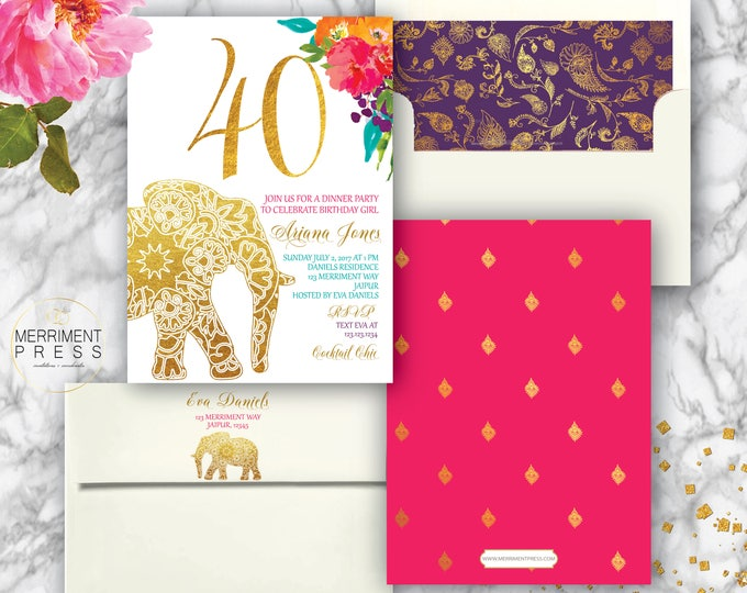 Indian themed 40th Birthday Invitation // Bollywood // Elephant // Paisley // Gold // Forty // Pink // Orange / Purple / JAIPUR COLLECTION