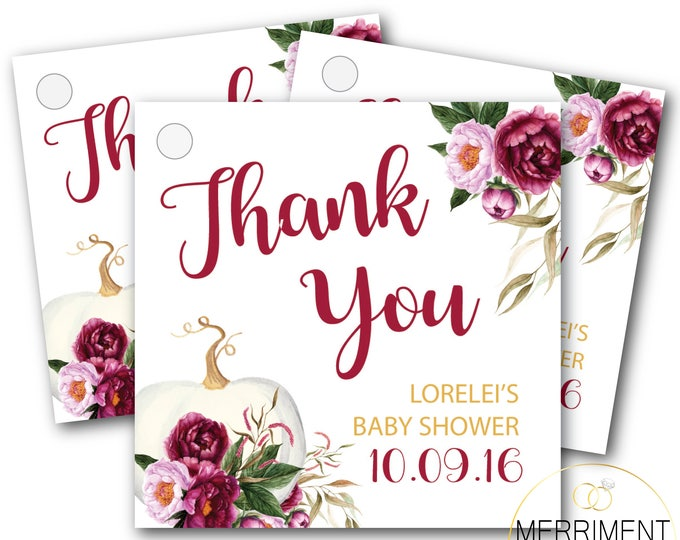 Fall Pumpkin Favor Tags // Thank you tags // Floral // Blush // Gold // Burgundy // Printed or Printable DIY // CARMEL COLLECTION