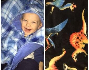 Car seat poncho, toddler poncho, fleece poncho, dinosaur poncho, boy poncho, baby poncho, carseat poncho, toddler car seat poncho