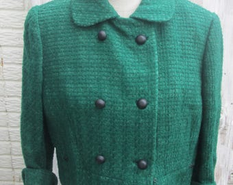 50s/60s Emerald Green Boucle Wool Lined Double Breasted Short Jacket