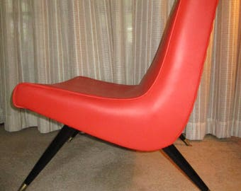 Awesome Orange Vinyl Mid Century Scoop Lounge Chair. Great Shape!  Eames Era.