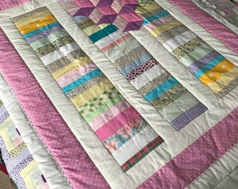 Handmade Baby Building Blocks quilt topper