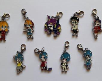 SALE - Evangelion Enamel Charms - Rei, Asuka, Shinji, Misato, Eva