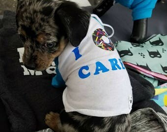 I Donut Care- XS in Pink/Blue Shirt Raglan Poly-Cotton Polyester 3/4 Sleeve American Apparel Dog Apparel