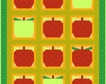 Fresh Apples Quilt Pattern with Pieced Apple Blocks - INSTANT DOWNLOAD