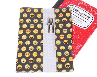 emoji composition notebook cover, fabric notebook cover, journal cover, school supply comp notebook cover, book cover