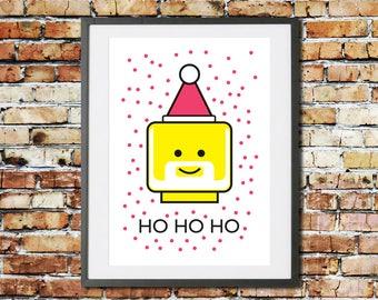 Christmas Decoration - Lego Art - Santa Hat - Father Christmas Decoration - Lego Minifigure
