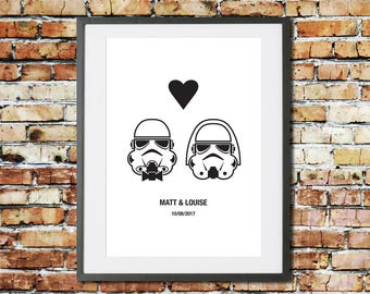 Wedding - Engagement - Anniversary - Valentines - Gift - Personalised Gift - Star Wars Gift - Star Wars Print - Stormtrooper - Couple - Art