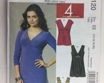 McCall's M6120, 4 Looks, One Pattern, Misses' Pattern, Tops and Tunics, Sizes 14,16,18,20 uncut