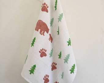 Forest Mummy and Baby Bear Printed Muslin -100% Fairtrade organic cotton - burp cloth - swaddle blanket - newborn gift - baby muslin