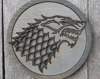 Stark Game of Thrones Wood Coaster | Rustic/Vintage | Hand Stained and Glued | Stark | Arya | Jon | Robb | Ned | Sansa