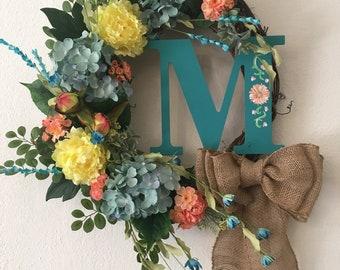 Spring Monogram Grapevine Wreath