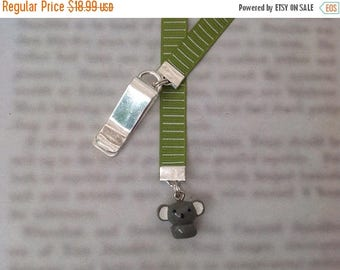 ON SALE Koala bookmark, cute bookmark with clip - Attach to book cover then mark the page with the ribbon. Never lose your cute bookmark!