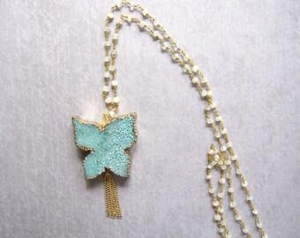 Blue Druzy Butterfly, Moonstone Chain, Boho Chic, Aqua Druzy Pendant, Tassel Chain, Gemstone Chain, Butterfly Pendant