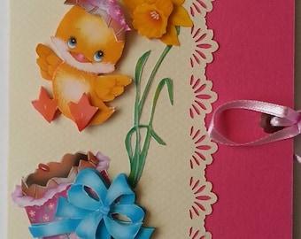 check, Easter chick card fuschia