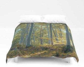 extra soft duvet cover. forest duvet cover, woodland duvet cover, tree, trees, autumn, woods, nature, zen