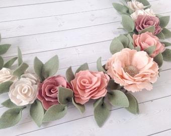 Felt Flower Wall Swag - Felt Flower Garland - Nursery Wall Decor - Custom Floral Garland - Custom Flower Swag - Custom Nursery Decor