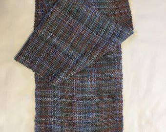 Handwoven Hand Dyed Handmade Rayon Scarf in Blues and Brown All Seasons