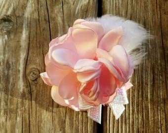 Pink Satin Flower Clip, Girls Hairclip, Photo Prop, Girls Flower Clip, Spring Flower Hairclip, Flower Girl, Hair Accessory, Girls Accessory