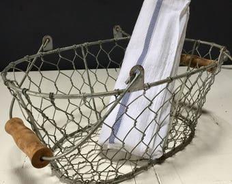 French Vintage Wirework Shopping Basket