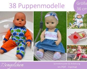 Schnittmuster Nähanleitung Puppenkleidung Gr: 36cm Puppen