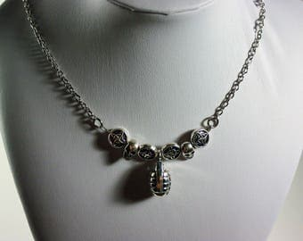 FREE Shipping- FPS CoD HALO Grenade  x Skulls Silver Necklace
