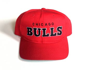 Vintage Chicago Bulls starter script snapback Block head team text NBA Basketball Snapback Strapback hat Adjustable cotton twill One Size