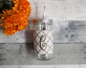 Personalized Foggy Plaid Mason Jar Tumbler, Custom Tumbler, Custom Monogrammed Tumbler, Personalized Tumbler, Mason Jar Foggy Plaid
