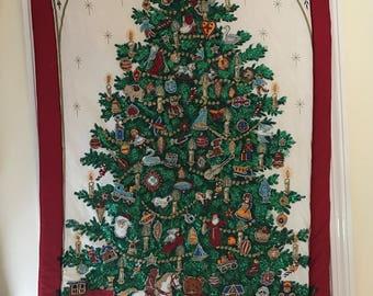 christmas wall hanging christmas tapestry handmade vintage christmas decoration christmas tree design christmas fabric christmas wall
