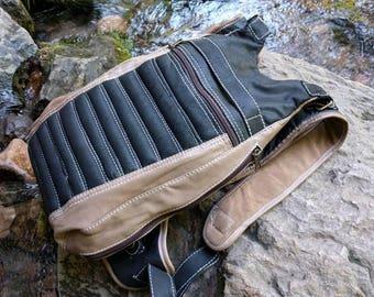 Handmade Leather Backpack Suede Adjustable Detachable Backpack