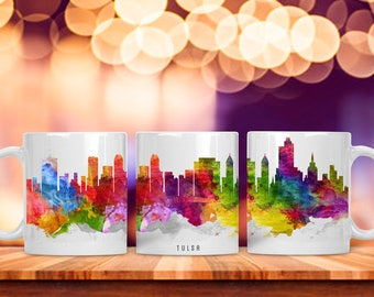 Watercolor City Skyline Mug, Tulsa Oklahoma Tea Coffee Cup, Gift for Him or Her, Water Color City Scape Cityscape, Corporate Employee Boss