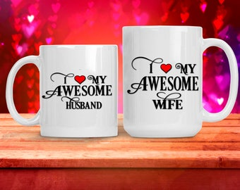 Romantic Gift for Wife Husband Spouse Fiance, I Love My Awesome Wife Husband, Funny and Humorous Mug, Coffee Tea Lover Gift Idea,