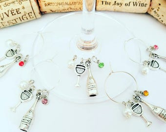 Wine Charms, Wine Gift, Wine Theme Wine Glasss Charms, Party Drink Tags, Wine Theme Birthday Party Decor, Wine Accessory, LasmasCreations