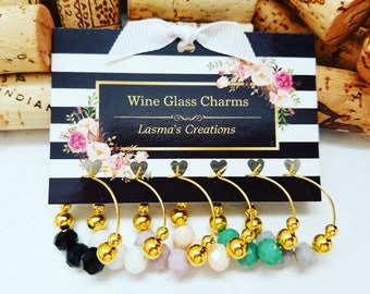6 WINE CHARMS, Gold-Plated Wine Glass Charms, Wine Charm Favors, Wine Lover Gift, Unique Wine Gift, Wine Tags, Designed by LasmasCreations