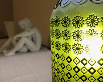 """Handmade glass table lamp carved """"Strata"""" S06"""