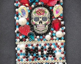 Sugar Skull Bling Phone Case, Day of the Dead Phone Case, Personalized Phone Case, Candy Skull Phone Cover, Halloween Phone Case