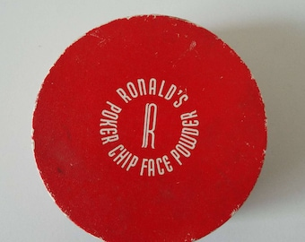 Rare Vintage 1940's - 1950's Ronald's Poker Chip Face Powder Box Unused New Old Stock Glamour Rockabilly Gambling Poker Casino Novelty