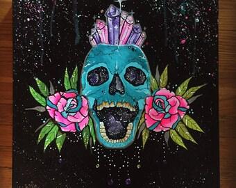 "12x12"" acrylic neotraditional crystal galaxy skull multimedia painting"