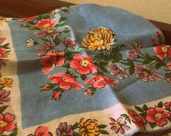 Vintage 1940's Pink, Blue,yellow,purple Floral Flower Hankie Hankerchief