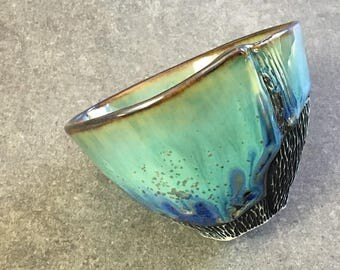 Crystalline Glaze Tea Bowl in Green and Blue Crystalline Glaze, Porcelain Cup for Tea, Ice Cream, and Other Tasties. 3 in tall, Food Safe.