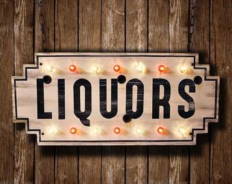 Illuminated 'LIQUORS' Sign (Relic // Patina // Rust // Vintage // Roadside Americana // Neon Sign // Marquee Light)