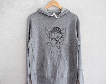 Charles the Boston Terrier Hoodie - Grey French Terry - Unisex Slim Fit