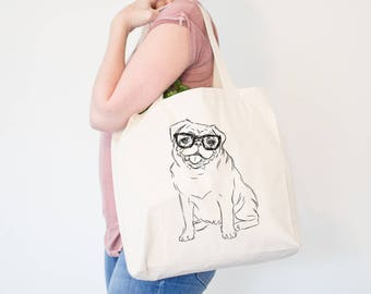 Higgins the Nerd Pug Canvas Tote Bag - Dog Lover Art, Pug Lover, Pug Art, Pug Owner, Silly Pug Tote, Gifts for Dog Lovers, Pug Lover Gift