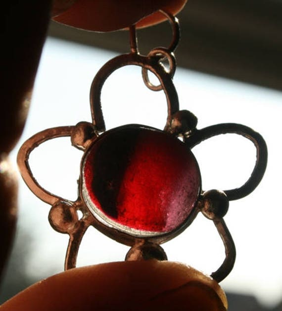 ROSE - Red Seaglass Multi Pendant in Sterling Silver