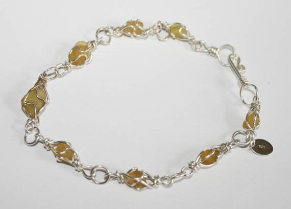 DEEP YELLOW SEAGLASS Bracelet - set in Sterling silver