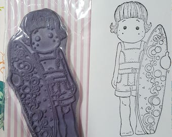 Magnolia Tilda with Surf Board mounted rubber stamp